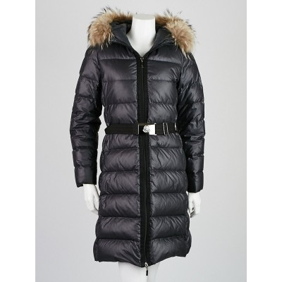 Moncler Black Nylon Quilted Down and Fox Fur Hooded Coat Size 1/S