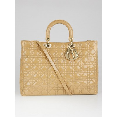 Christian Dior Beige Quilted Cannage Patent Leather Extra Large Lady Dior Bag