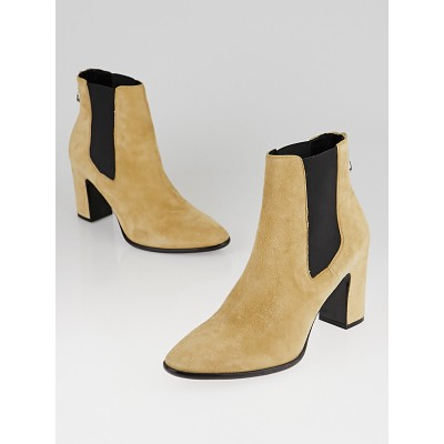 Balenciaga Beige Suede Charlotte Ankle Boots Size 9.5