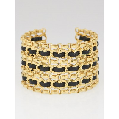 Chanel Vintage Goldtone Metal and Leather Chain Wide Cuff Bracelet