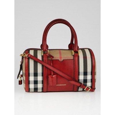 Burberry Red Check Canvas Mixed Media Medium Alchester Bowler Bag