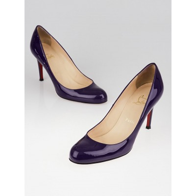 Christian Louboutin Purple Patent Leather Simple 85 Pumps Size 8/38.5