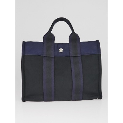 Hermes Black/Navy Blue Canvas Fourre Tout PM Tote Bag