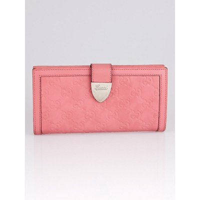 Gucci Pink Guccissima Leather Long Flap Wallet