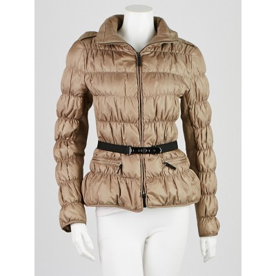 Burberry London Taupe Down Quilted Puffer Jacket Size M