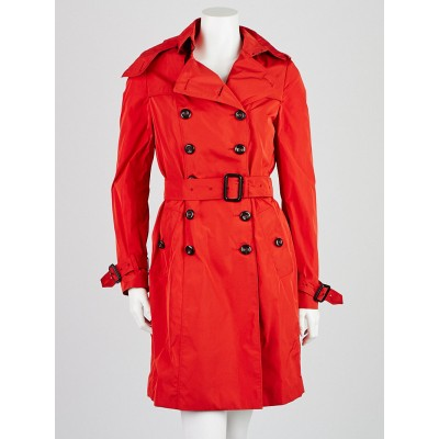 Burberry London Red Polyester Double Breasted Belted Barkestone Trench Coat Size 6