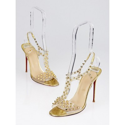Christian Louboutin Goldtone Metal Spikes T-Strap Sandals Size 7.5/38