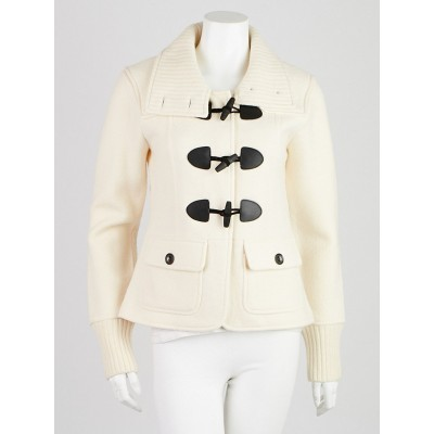 Burberry Off-White Merino Wool Toggle Sweater Jacket Size L