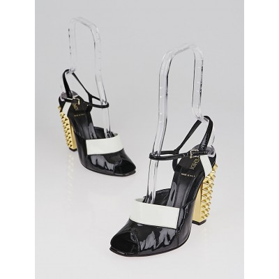Fendi Black/White Patent Leather Studded Heel Sandals Size 6.5/37