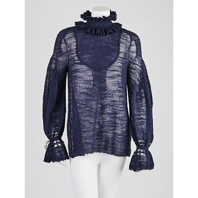 Chanel Navy Blue Wool Burnout Sweater Size 6/38