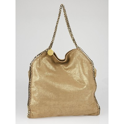 Stella McCartney Gold Shaggy Deer Faux-Leather Falabella Big Tote Bag