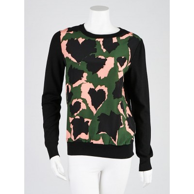 Gucci Green and Pink Heart Printed Silk/Wool Sweater Size M