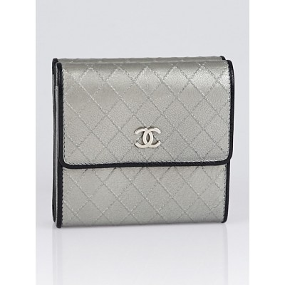Chanel Silver Leather S-Double Compact Wallet