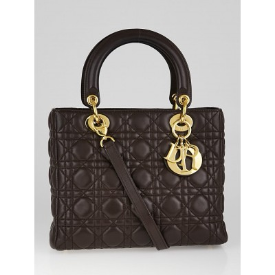 Christian Dior Chocolate Cannage Quilted Lambskin Leather Medium Lady Dior Bag