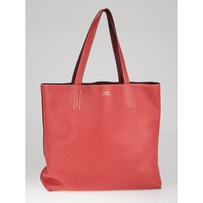 Hermes 45cm Rose Jaipur/Tosca Clemence Leather Double Sens Reversible Tote Bag