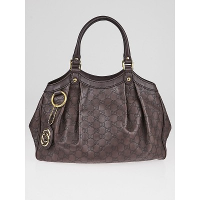 Gucci Dark Brown Guccissima Leather Medium Sukey Tote Bag