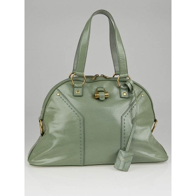 Yves Saint Laurent Light Green Patent Leather Large Muse Bag