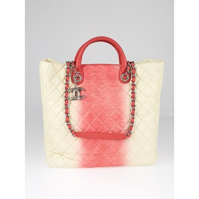 Chanel White/Rose Ombre Quilted Caviar Leather Grand Shopping Tote Bag