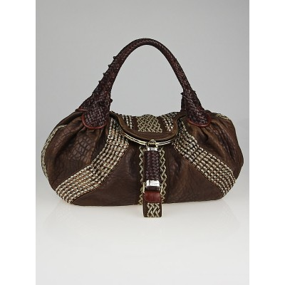 Fendi Brown Leather and Beaded Spy Bag