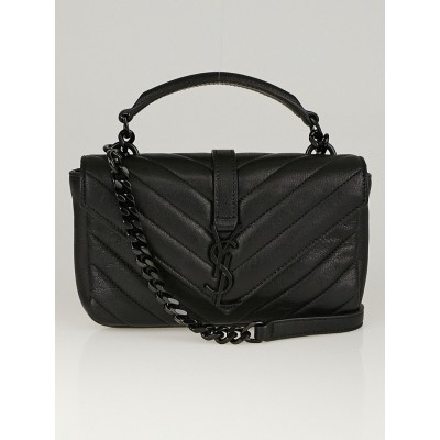 Yves Saint Laurent Black Chevron Quilted Leather Monogram Wallet on Chain College Bag