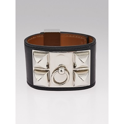 Hermes Black Chamonix Leather Palladium Plated Collier de Chien Bracelet Size S