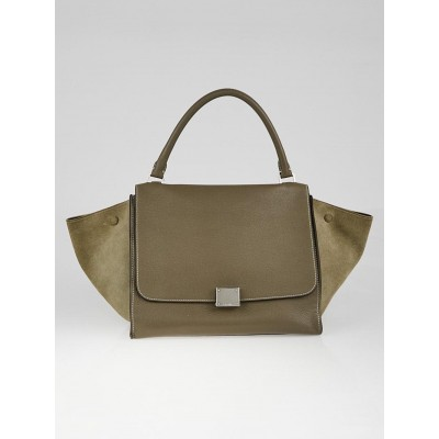 Celine Taupe Pebbled Calfskin Leather and Suede Medium Trapeze Bag