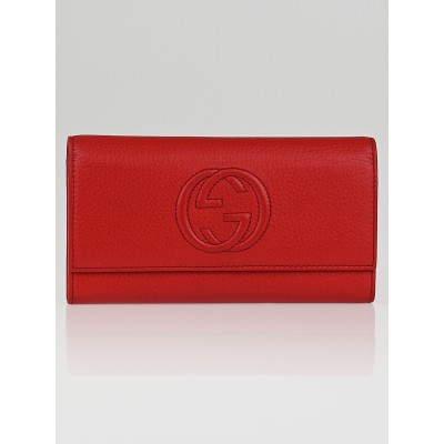 Gucci Red Pebbled Leather Soho Continental Flap Wallet