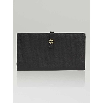 Chanel Black Leather CC Continental Long Wallet