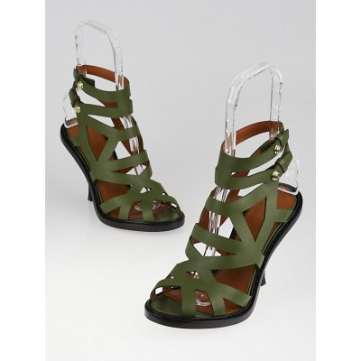 Givenchy Green Leather Strappy Sandals Size 9/39.5