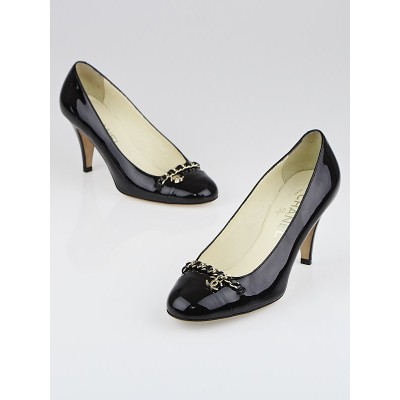 Chanel Black Patent Leather Chain CC Pumps Size 6.5/37