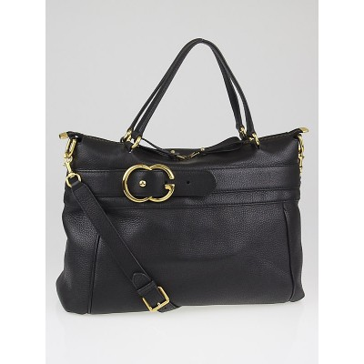 Gucci Black Pebbled Calfskin Leather Ride Medium Top Handle Bag