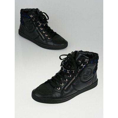 Chanel Black Leather and Tweed High Top Sneakers Size 9.5/40