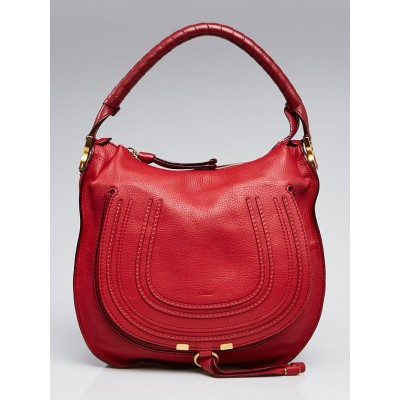Chloe Red Pebbled Leather Small Marcie Hobo Bag