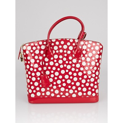 Louis Vuitton Limited Edition Yayoi Kusama Red Monogram Vernis Dots Lockit MM Bag
