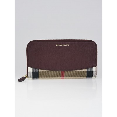 Burberry Burgundy Leather and House Check Elmore Zip Around Wallet