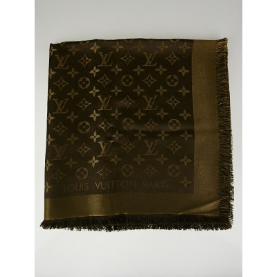 Louis Vuitton Bronze Silk Blend Monogram Lurex Shawl Scarf
