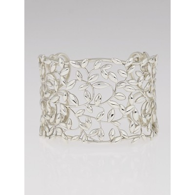 Tiffany & Co. Sterling Silver Paloma Picasso Olive Leaf Wide Cuff Bracelet