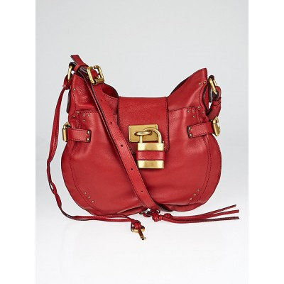 Chloe Vermillion Leather Paddington Hobo Bag