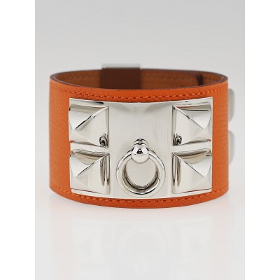 Hermes Orange Epsom Leather Palladium Plated Collier de Chien Bracelet Size S