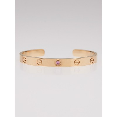 Cartier 18k Pink Gold and Pink Sapphire LOVE Open Bracelet Size 17