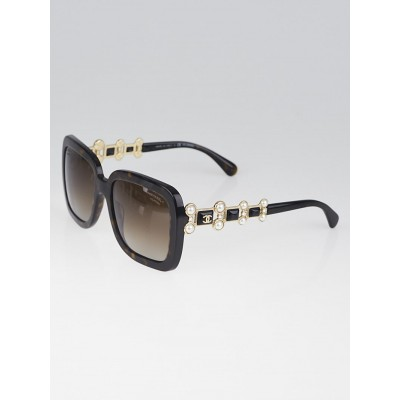 Chanel Brown Tortoise Shell Acetate Square Frame Bijou Sunglasses-5335