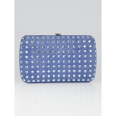 Gucci Blue Suede and Crystals Box Clutch Bag