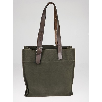 Hermes Green Canvas and Natural Vache Hunter Leather Etriviere Shopping Tote Bag