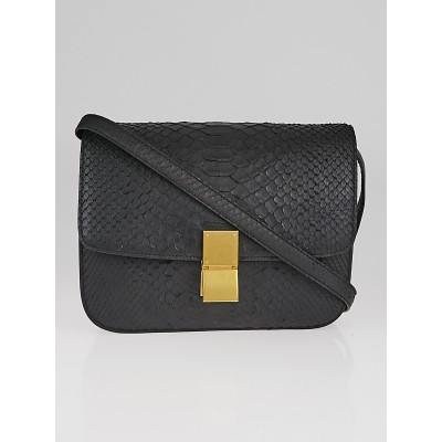 Celine Black Python Medium Classic Box Flap Bag