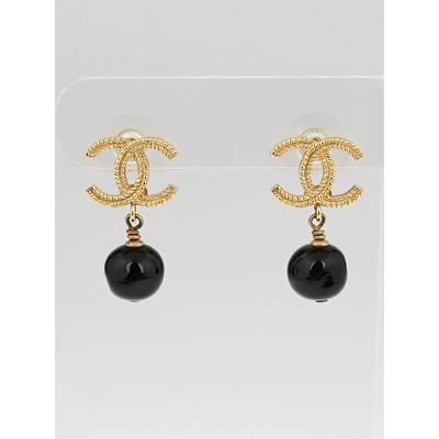 Chanel Goldtone Metal CC and Black Glass Pearl Drop Earrings
