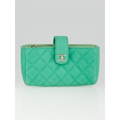 Chanel Green Quilted Caviar Leather Mini Pouch