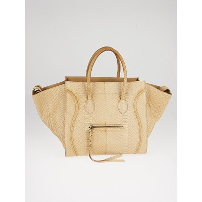 Celine Beige Python Medium Phantom Luggage Tote Bag