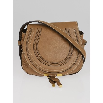Chloe Nut Pebbled Leather Small Marcie Mini Crossbody Bag