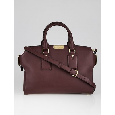 Burberry Claret Smooth Leather Medium Clifton Bag
