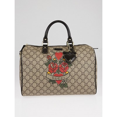 Gucci Beige/Ebony GG Coated Canvas Tattoo Heart Medium Joy Boston Bag